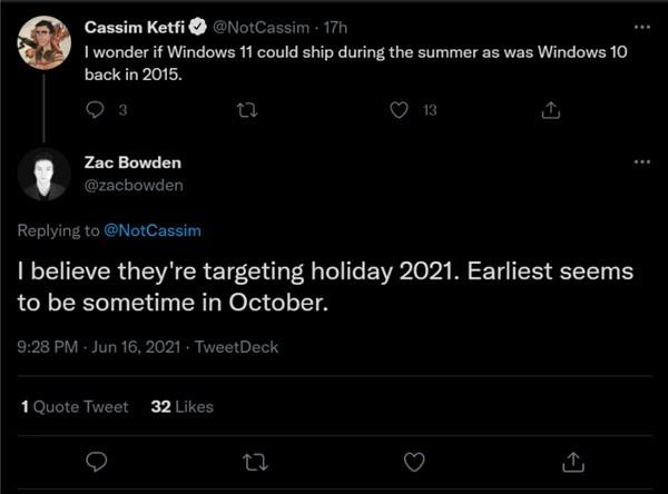 windows11正式版发布时间曝光